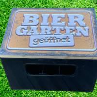 """Bierkastensitz Motiv """"Biergarten geöffnet"""" Bierkastenaufsatz Holz Vintage-Handmade-das Geschenk für alle Fälle Bild 2"""