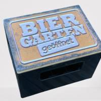 """Bierkastensitz Motiv """"Biergarten geöffnet"""" Bierkastenaufsatz Holz Vintage-Handmade-das Geschenk für alle Fälle Bild 3"""