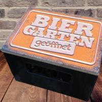 """Bierkastensitz Motiv """"Biergarten geöffnet"""" Bierkastenaufsatz Holz Vintage-Handmade-das Geschenk für alle Fälle Bild 4"""