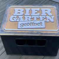 """Bierkastensitz Motiv """"Biergarten geöffnet"""" Bierkastenaufsatz Holz Vintage-Handmade-das Geschenk für alle Fälle Bild 5"""