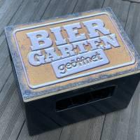 """Bierkastensitz Motiv """"Biergarten geöffnet"""" Bierkastenaufsatz Holz Vintage-Handmade-das Geschenk für alle Fälle Bild 6"""