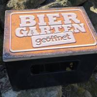 """Bierkastensitz Motiv """"Biergarten geöffnet"""" Bierkastenaufsatz Holz Vintage-Handmade-das Geschenk für alle Fälle Bild 7"""