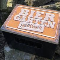 """Bierkastensitz Motiv """"Biergarten geöffnet"""" Bierkastenaufsatz Holz Vintage-Handmade-das Geschenk für alle Fälle Bild 8"""