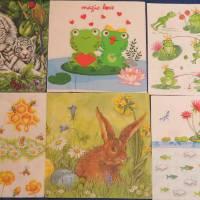 6 Servietten / Motivservietten / Hase / Blumen / Fische / Frösche / Tiger / Bienen / Honig / verschiedene Tiermotive Mix Bild 1