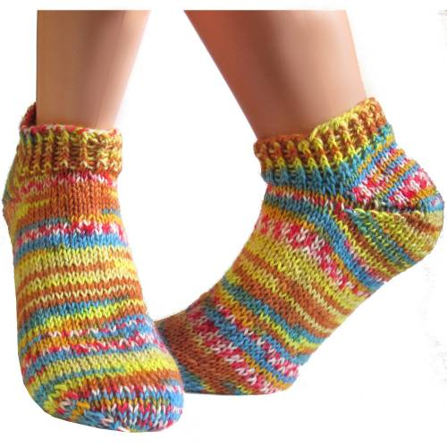 Kurze bunte Sneaker Socken Gr. 38/39 *Sommerfarben* handgestrickt unisex