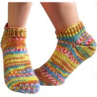 Kurze bunte Sneaker Socken Gr. 38/39 *Sommerfarben* handgestrickt unisex Bild 1