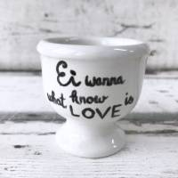 4 Eierbecher mit versch. Ei Texten, Keramik handbemalt Bild 3