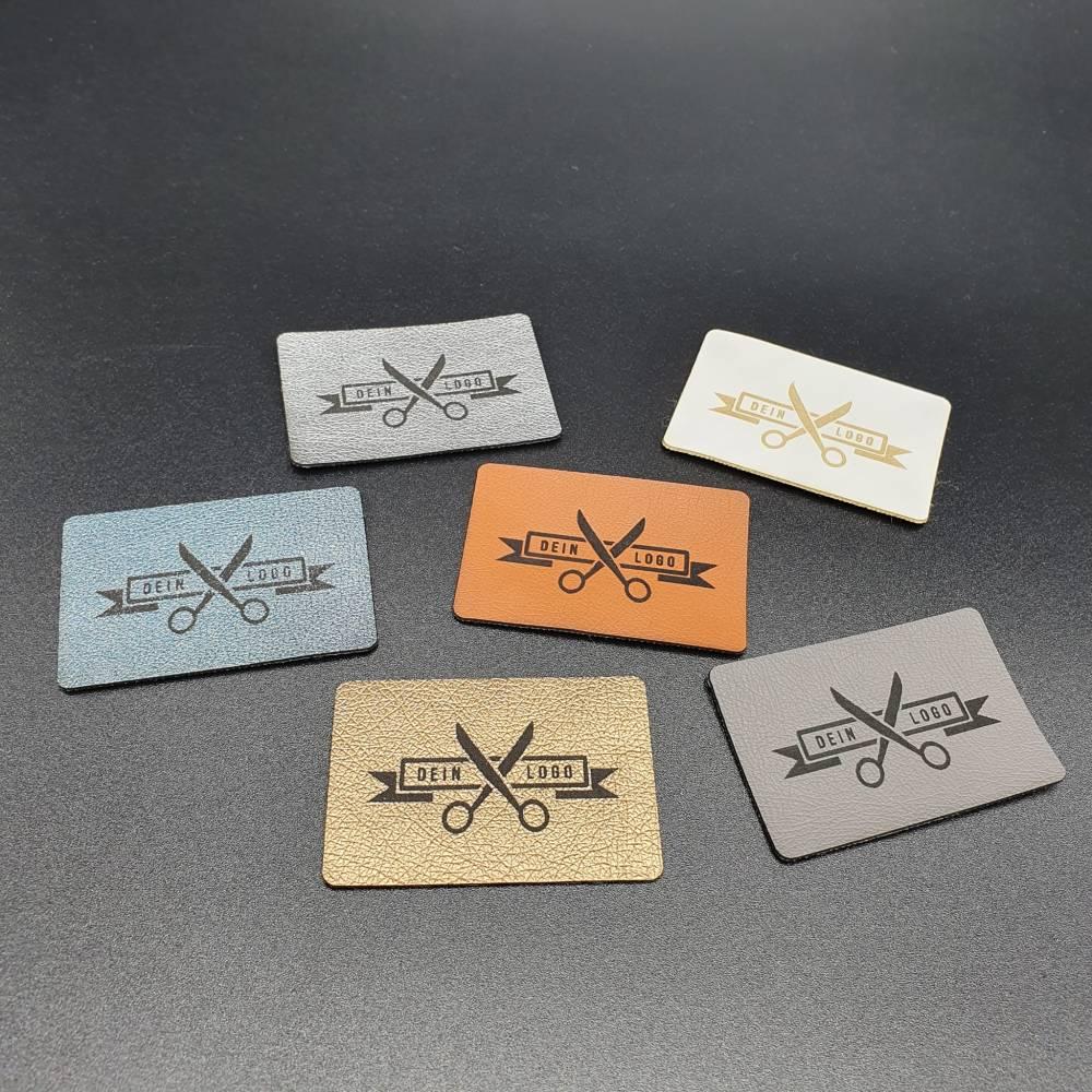 Kunstlederlabel mit deinem Logo / Schriftzug bis 50x50mm Bild 1