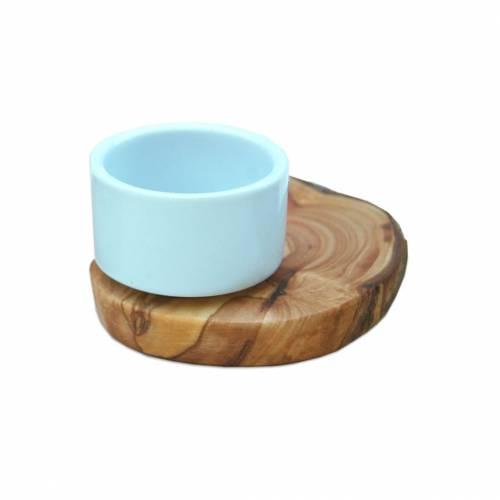 Eierbecher FLORENZ aus Porzellan auf rustikalem Olivenholzsockel