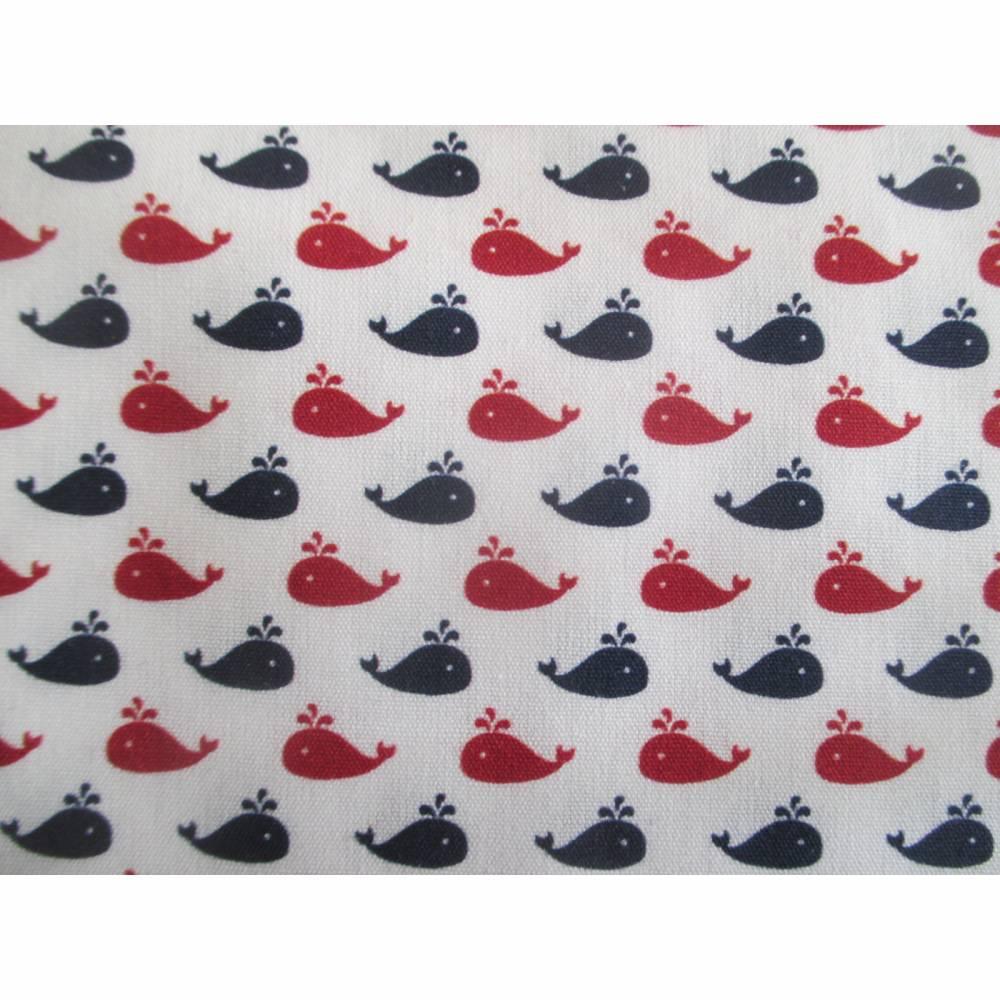 Baumwollstoff Kiel Wale, weiß/dunkelblau/rot Oeko-Tex Standard 100(1m /10,00€) Bild 1