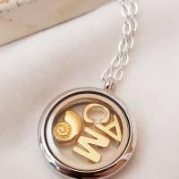 personalisierte Medaillon-Kette Initialen Familienkette Buchstaben Floating Muschel Fb. silber rosegold gold individuell Bild 1