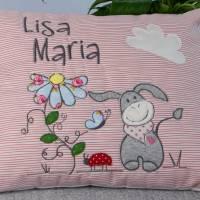 Personalisiertes Kinderkissen Eselchen, Kuschelkissen für Babys und Kinder, Kissen mit Applikation und Name Bild 1