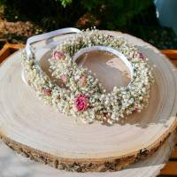 Blumenkranz Haarkranz Trockenblumen Minirosen & Schleierkraut Brautschmuck Bridesmaids Hochzeit getrocknete Blumen  Bild 1