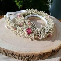 Blumenkranz Haarkranz Trockenblumen Minirosen & Schleierkraut Brautschmuck Bridesmaids Hochzeit getrocknete Blumen  Bild 2