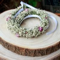Blumenkranz Haarkranz Trockenblumen Minirosen & Schleierkraut Brautschmuck Bridesmaids Hochzeit getrocknete Blumen  Bild 3