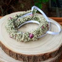 Blumenkranz Haarkranz Trockenblumen Minirosen & Schleierkraut Brautschmuck Bridesmaids Hochzeit getrocknete Blumen  Bild 4