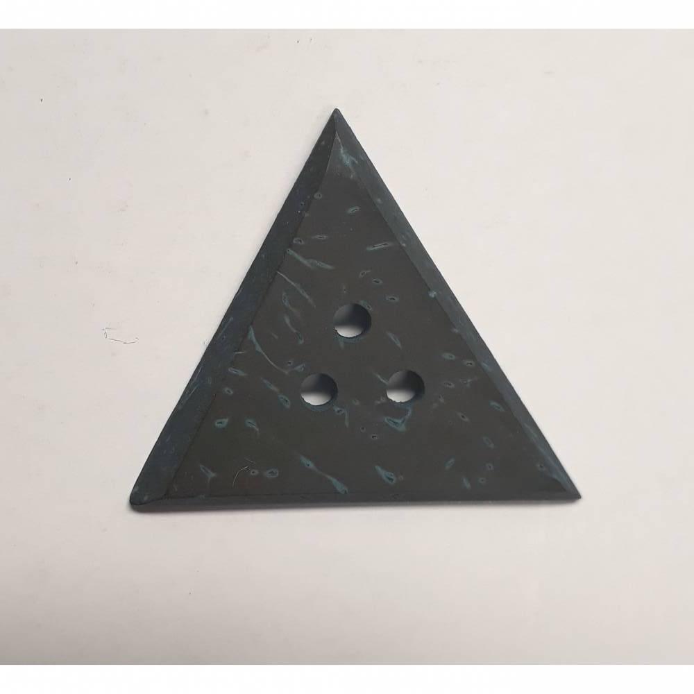 Naturknopf!  Ungewöhnlicher Knopf aus glattpoliertem und gefärbtem Kokos, schwarz-hellblau, ca 2,5cm groß Bild 1
