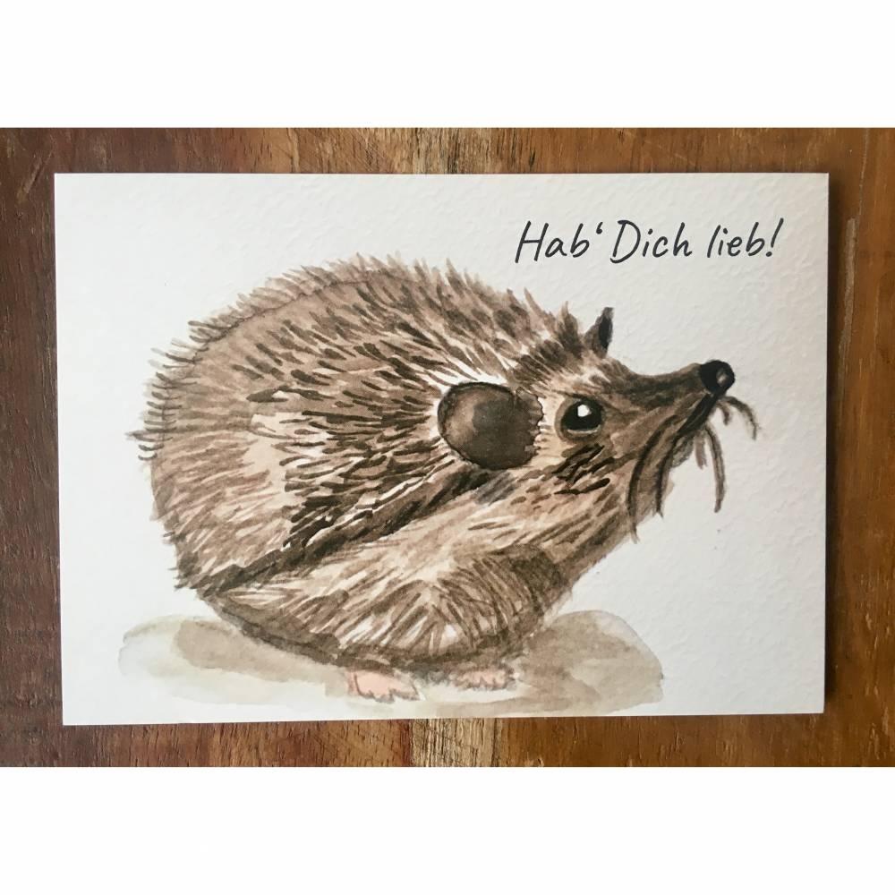 """Postkarte Aquarell Druck """"IGEL"""" mit Aufschrift: Hab' Dich lieb! Bild 1"""