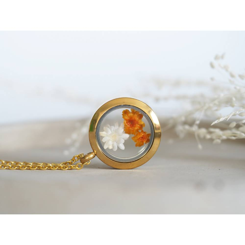 Trockenblumen Medaillon Halskette, 25 mm, getrocknete echte Blüten, Brautschmuck, gold, rosegold, silber Bild 1