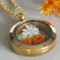 Trockenblumen Medaillon Halskette, 25 mm, getrocknete echte Blüten, Brautschmuck, gold, rosegold, silber Bild 3