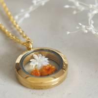 Trockenblumen Medaillon Halskette, 25 mm, getrocknete echte Blüten, Brautschmuck, gold, rosegold, silber Bild 4