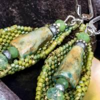 blätter ohrringe grün, geschenk, ostern, ohrhänger, beadwork, keramik, glasperlen, geburtstag Bild 7