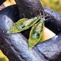 blätter ohrringe grün, geschenk, ostern, ohrhänger, beadwork, keramik, glasperlen, geburtstag Bild 9