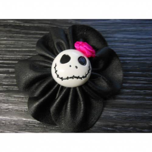 Skull Totenkopf  Haarspange, und Brosche in einem, Kunstleder, Anstecker