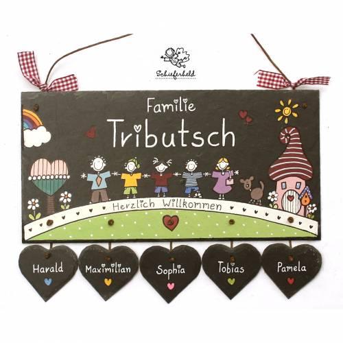 personalisiertes Türschild Familie, Schiefertürschild wetterfest, Namensschild handbemalt, Familientürschild, Unikat