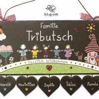 personalisiertes Türschild Familie, Schiefertürschild wetterfest, Namensschild handbemalt, Familientürschild, Unikat Bild 1