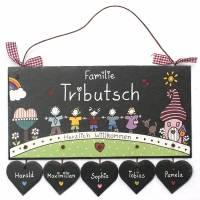 personalisiertes Türschild Familie, Schiefertürschild wetterfest, Namensschild handbemalt, Familientürschild, Unikat Bild 2
