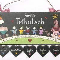 personalisiertes Türschild Familie, Schiefertürschild wetterfest, Namensschild handbemalt, Familientürschild, Unikat Bild 5