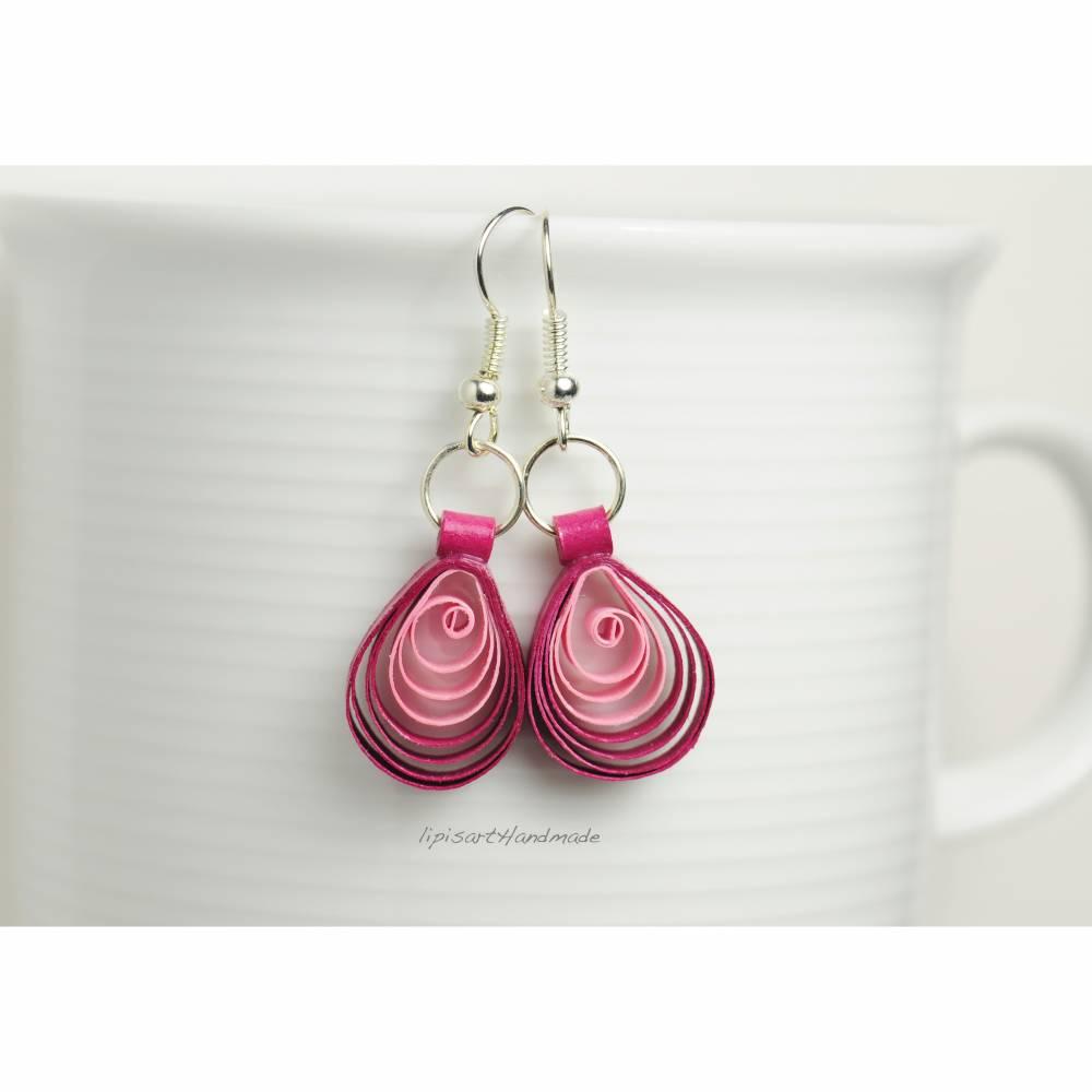 Ohrringe – Papier Tropfen Pink-Rosa Quilling Bild 1