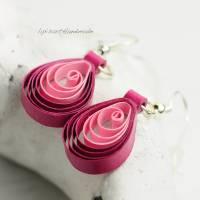 Ohrringe – Papier Tropfen Pink-Rosa Quilling Bild 3