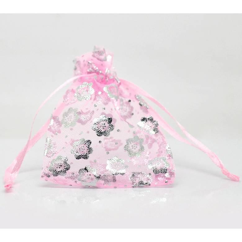 "10 Stück / Organza Beutel ""Blume"" / 9*7 cm / rosa silber / B2-0781 Bild 1"