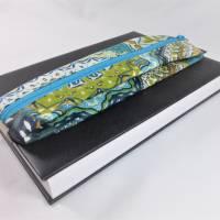 Mäppchen, Stifthalterung, Lesezeichen mit Brillenaufbewahrung mit Gummiband zur Befestigung an Notizbuch, Kalender Bild 4