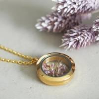 Trockenblumen Medaillon Halskette, 25 mm, getrocknete echte Blüten, Brautschmuck, gold, rosegold, silber Bild 5