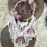 Makramee-Traumfänger mit Name (personalisierbar,handmade) Trockenblumenring Namensring 20 cm bzw. 25 cmAltrosa / beere Bild 1