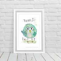 Birdies TSCHIP... Print Poster Wanddeko Bild mit Spruch Handlettering Aquarellzeichnung Vogel Geschenk kaufen Bild 1