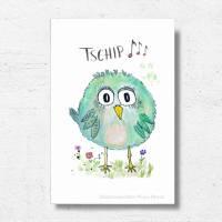 Birdies TSCHIP... Print Poster Wanddeko Bild mit Spruch Handlettering Aquarellzeichnung Vogel Geschenk kaufen Bild 2