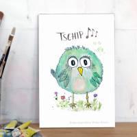 Birdies TSCHIP... Print Poster Wanddeko Bild mit Spruch Handlettering Aquarellzeichnung Vogel Geschenk kaufen Bild 3