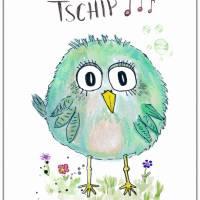 Birdies TSCHIP... Print Poster Wanddeko Bild mit Spruch Handlettering Aquarellzeichnung Vogel Geschenk kaufen Bild 4