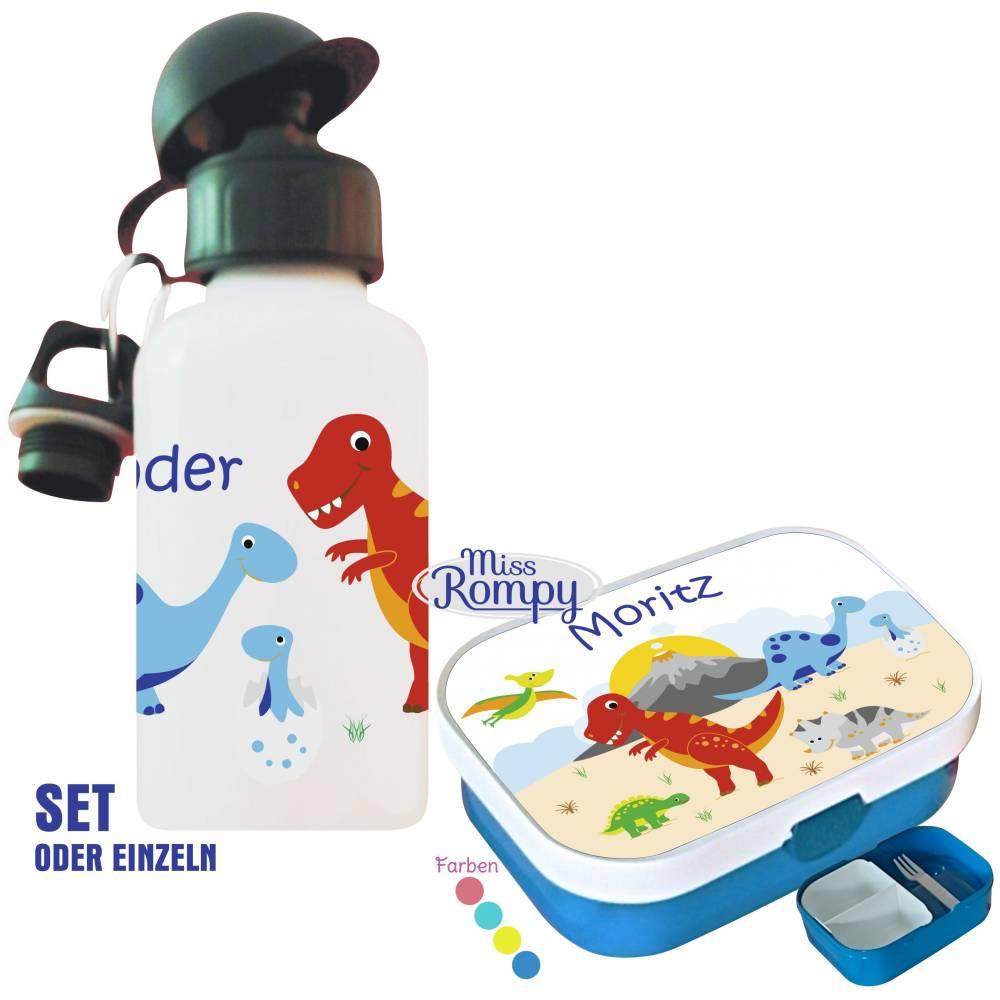 MissRompy | Dinosaurier (875) Brotdose, Flasche oder Set mit Name + Obsteinsatz passend zu Brotdose und Rucksack Bild 1