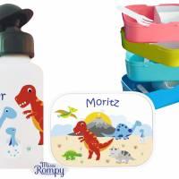 MissRompy | Dinosaurier (875) Brotdose, Flasche oder Set mit Name + Obsteinsatz passend zu Brotdose und Rucksack Bild 2