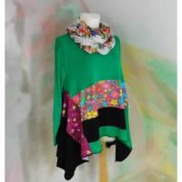 Tunika 50 - 52 Bluse Handmade Upcycling grün bunt Unikat XXXL Übergröße XXL PlusSize Baumwollkleid Jersey Unikat Bild 1
