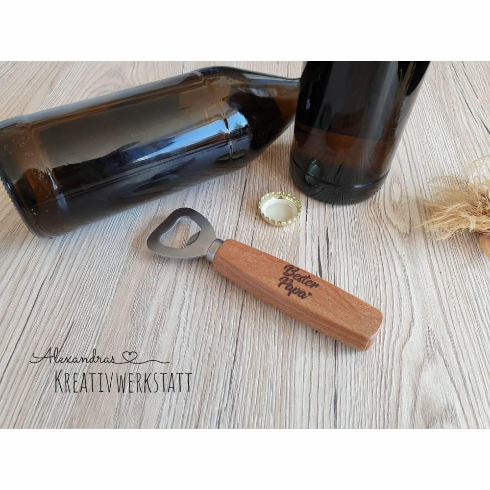 Flaschenöffner massive Buche mit Name, Gravur, Laser, Bier, Geschenk Bild 1