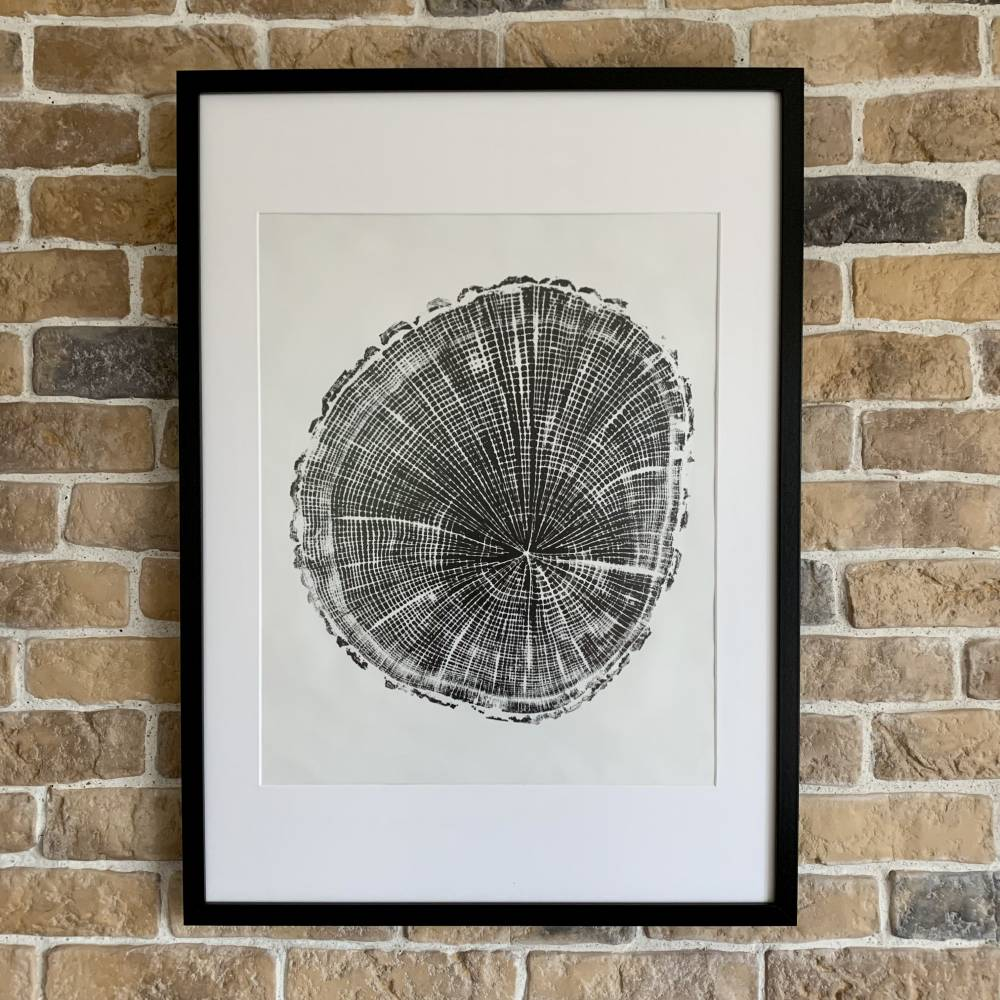 Holzdruck Jahresringe Baumscheibe Linoldruck Kunstdruck Poster Bild 1