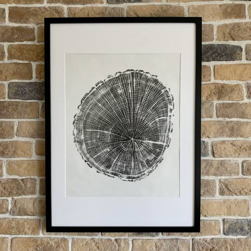 Holzdruck Jahresringe Baumscheibe Linoldruck Kunstdruck Poster