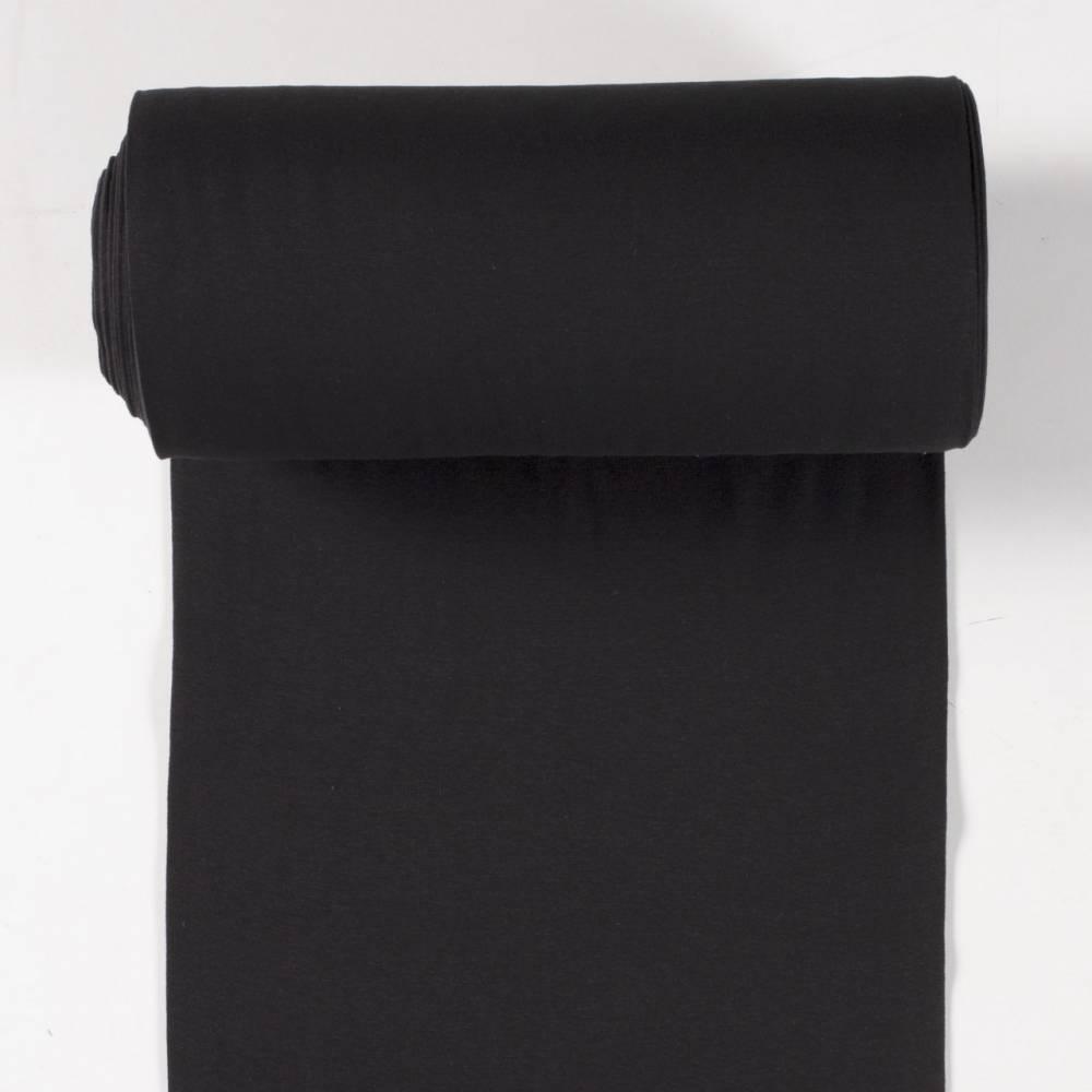 0,50m Bündchenstoff Schlauchware uni schwarz 50cm Schlauch Öko-Tex Standard 100 - Meterware EU Stoffe Bild 1