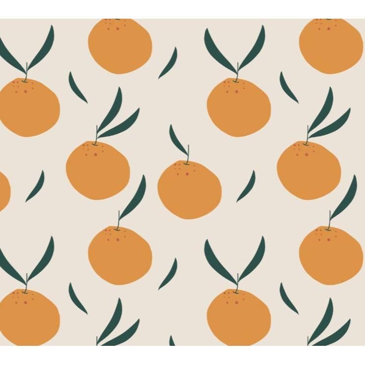 ab 50cm Bio Jersey Orangen creme - Druckstoff GOTS Orange Obst Bild 1